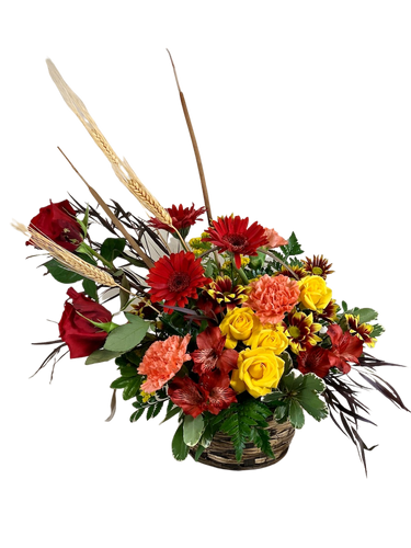 Autumn Stroll in Long Bridge Park: basket arrangement of roses, gerbera, carnations, and daisies with accents of wheat, cattail, and agonis