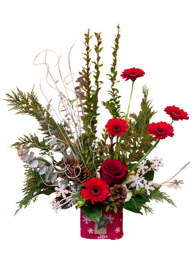 Peace, Love, and Joy:  grand arrangement of red and white flowers with winter greens, cones, and glittered branches, in a burlap-wrapped cube
