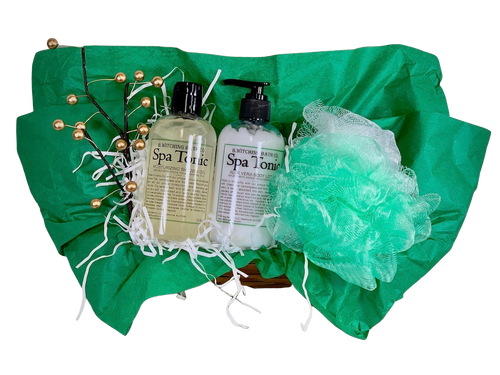 Green Tea  Spa Basket:  all-natural shower gel and lotion, presented with a mesh scrub and nail file, in a woven gift basket