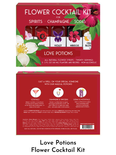 Love Potions Flower Cocktail Kit from the Floral Elixir Company, five 2-ounce bottles including Cherry Blossom, Rose, Violet, Hibiscus, and Orange Blossom