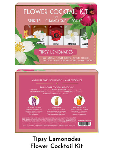 Tipsy Lemonades Cocktail Kit from the Floral Elixir Company, including Rose, Tropical Orchid, Orange Blossom, Jasmine, and Elderflower hand-crafted flower syrups