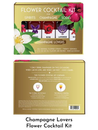 Champagne Lovers Flower Cocktail Kit by the Floral Elixir Company, five 2-ounce bottles, including Hibiscus, Rose, Lavender, Violet, and Rose Hip floral elixirs