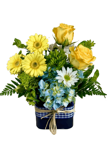 Le Petit Prince - arrangement of yellow roses, yellow gerbera, blue hydrangea, and more, in a blue glass cube with gingham ribbon trim
