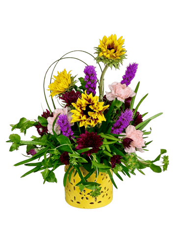 Sunshine and Smiles:  Arrangement of sunflowers, carnations, liatris, and more, in a yellow ceramic container