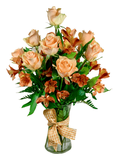 Bees Make Honey - arrangement of honey-colored roses with orange alstromeria, presented in a clear glass gathering vase with gingham ribbon trim