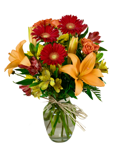 Let's Get Plowed:  arrangement of orange lilies, red gerber daisies, and yellow alstromeria, in a clear glass vase, trimmed with a raffia bow
