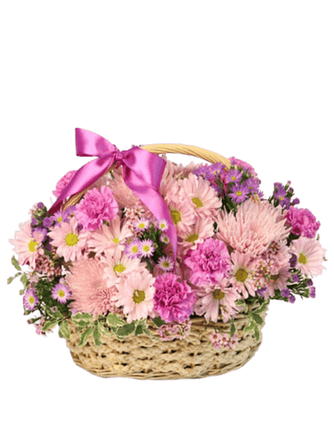 Pleasant Afternoon:  carnations, spider mums, and daisies,  in soft tones of pink and lavender, presented in a light wicker basket with pink ribbon trim.