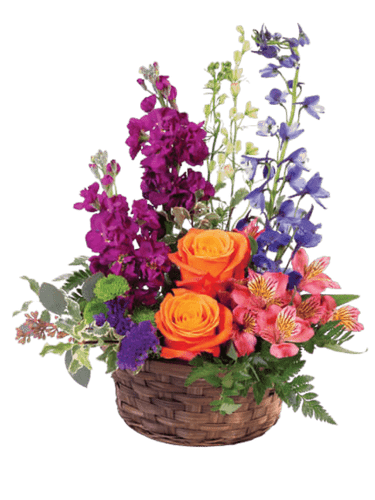 Brilliant Blooms:  orange roses, purple stock, pink larkspur, and more, in a round basket of dark woven willow