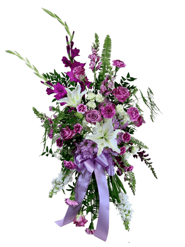 Fields of Lavender Tribute Spray - standing sympathy spray in shades of lavender and white, including gladiola, snapdragons, roses, lilies, and more