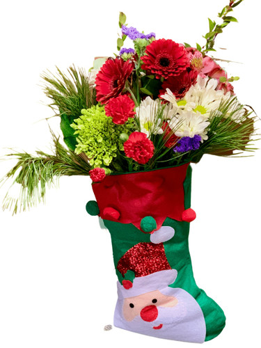 Stuff My Stocking! - Hand-tied bouquet of red, white, and green flowers and winter greens, presented in a decorated felt stocking
