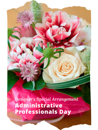 The Designer's Special Administrative Professionals Arrangement includes the florist's choice of fresh flowers in a classic color palette, accented with seasonal greens, and beautifully presented for the gift recipient.