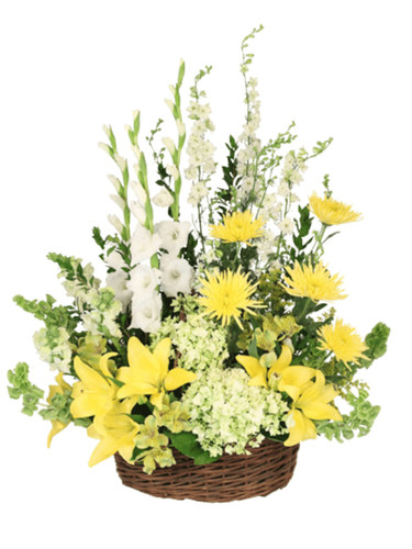Hope Everlasting - sympathy arrangement of roses, lilies, gladiola, hydrangea, and more, with glossy greens,  presented in a dark woven basket.