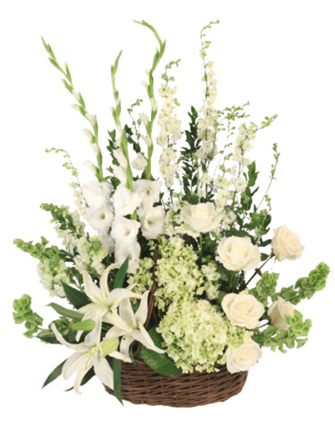 Peaceful Promise' - sympathy arrangement of white rose, larkspur, lilies, and gladiola, with green hydrangea and Bells of Ireland, in a dark woven basket