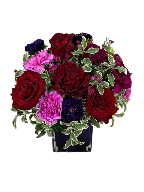 Tango Argentino:  arrangement of red roses, purple carnations, lavender carnations, and purple matsumoto asters in a purple glass cube