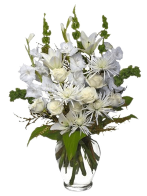 Pearls of Remembrance:  Soft white roses and lilies arranged with spider mums, gladiola, Bells of Ireland, and fresh seasonal greens, presented in a tall glass Ming vase.