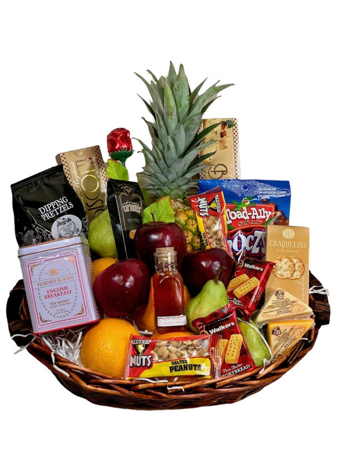 Ultimate Fruit and Gourmet Basket:  assorted fruit, sweets, beverages, and snacks, in a woven basket