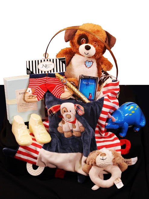 Baby Welcome Basket:   assortment of puppy-themed toys and gifts, including blanket, rattle, socks, plush toy, pewter frame, coin bank, and more.