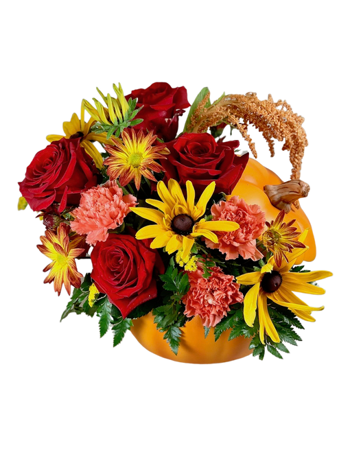Pumpkin-Flavored Everything:  Arrangement of roses, rudbeckia, daisies, and carnations in fall colors, presented in a lidded ceramic pumpkin container