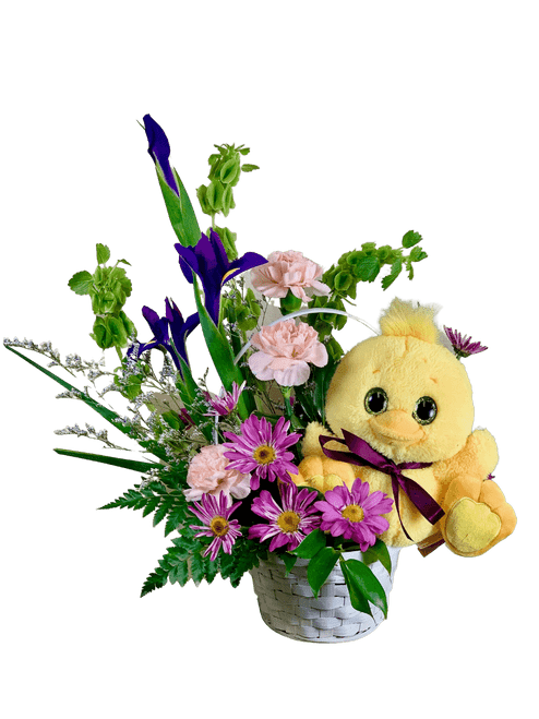 Just Ducky - basket arrangement of purple iris, green Bells of Ireland, and peach carnations, with a plush yellow ducky