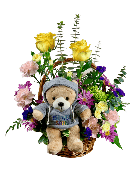 Healing Hugs - basket arrangement of roses, hydrangea, carnations, and more, with a get-well plush bear
