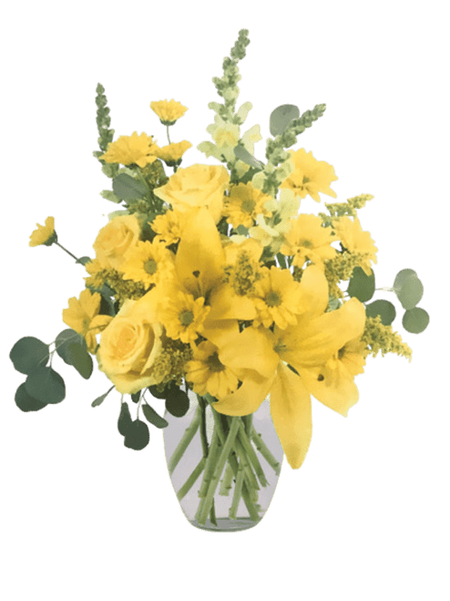 What's up, buttercup?  Sunny vase arrangement of yellow flowers including roses,  lilies, snapdragons, daisies, and more.