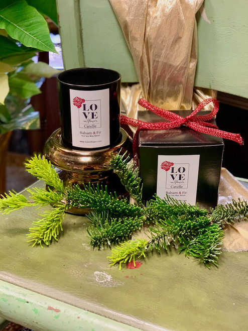Balsam & Fir candle - 8 ounce soy wax-blend candle in a black gift box with a sparkly red bow