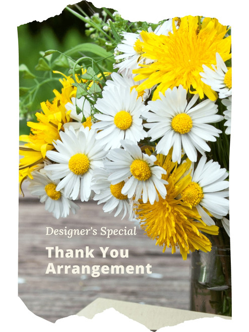 The Designer's Special Get Well Arrangement includes the florist's choice of fresh blooms in an upbeat color palette, accented with seasonal greens, and beautifully presented for the gift recipient.