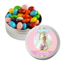 Pink Baby Birthday Twist Tins