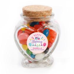 Pink Party Birthday Heart Glass Jar
