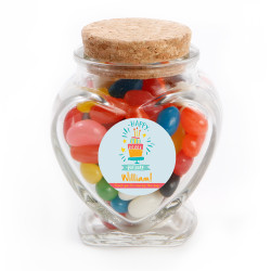Blue Cake Birthday Heart Glass Jar
