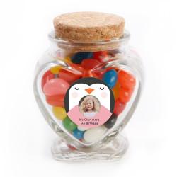 Penguin Birthday Heart Glass Jar