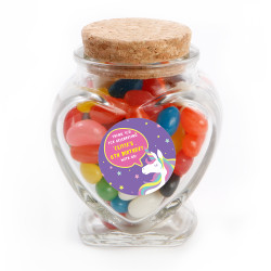 Purple Unicorn Birthday Heart Glass Jar