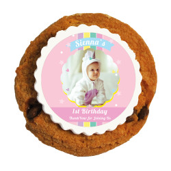 Pink Baby Birthday Printed Cookies