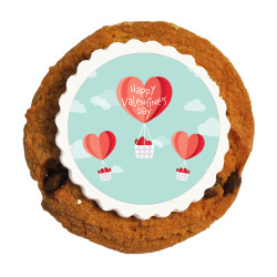 Heart Air Balloon Valentine Printed Cookies