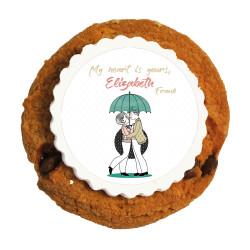 Lovers in Umbrella Valentine Printed Cookies