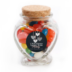 Pink Heart Valentine Heart Glass Jar
