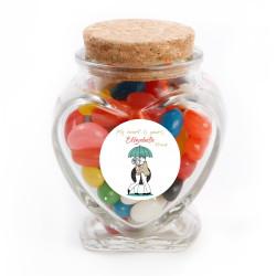 Lovers in Umbrella Valentine Glass Jar