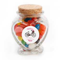 Biking Hearts Valentine Glass Jar