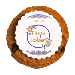 Purple and Orange Flowers Wedding Printed Cookies