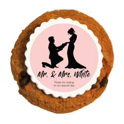 Pink Groom and Bride Wedding Printed Cookies