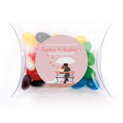Pink Lovers with Umbrella Wedding Pillow Box