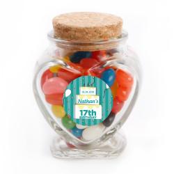 Blue Striped Cake Birthday Glass Jar