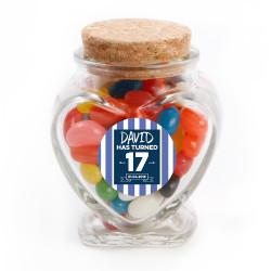 Blue Stripes Birthday Glass Jar