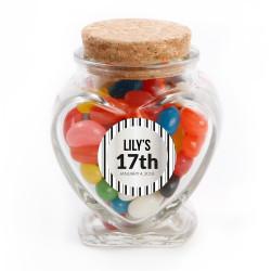 Black Stripes Birthday Glass Jar