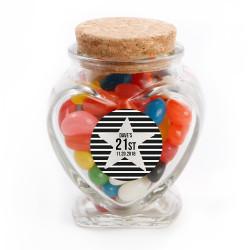 Silver Star Birthday Glass Jar