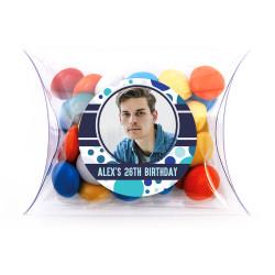Blue Polkadots with Custom Photo Birthday Pillow Box