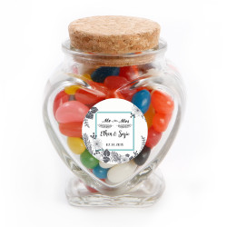 White Flower Wedding Photo Glass Jar