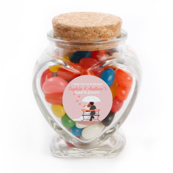 Pink Lovers with Umbrella Wedding Glass Jar