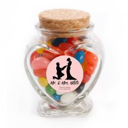 Pink Groom and Bride Wedding Glass Jar