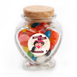 Cartoon Lovers Wedding Glass Jar